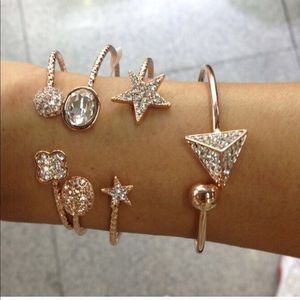 Pyramid Crystal and Rose Gold Bracelet